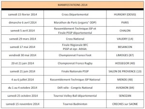 Calendrier MANIFESTATIONS